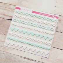 Freckled Fawn White & Aqua Puffy Border Stickers