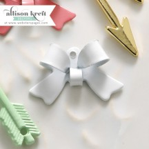 Webster's Pages Hello World White Bow Metal Embellishments CH144