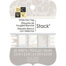 DCWV White Fern Tag Stack 24 sheets - MS-020-00015