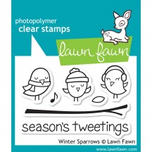Lawn Fawn Winter Sparrows Christmas Clear Stamps LF565