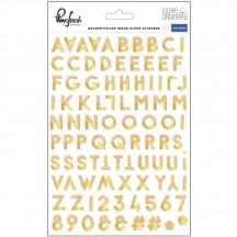 Pinkfresh Studio Escape the Ordinary Golden Foiled Wood Alpha Stickers PFRC301117