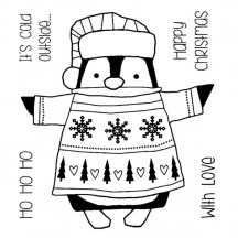 Woodware Wrapped Penguin Clear Magic Christmas Stamp Set FRS045