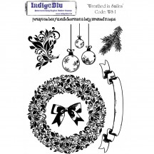 IndigoBlu A5 Cling Mounted Christmas Rubber Stamp Sheet - Wreathed in Smiles