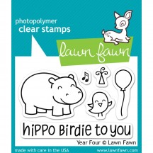 Lawn Fawn Year Four Hippo Birdie Birthday Clear Stamps LF655