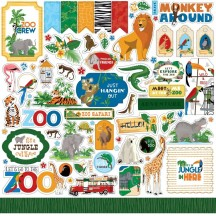 "Carta Bella Zoo Adventure 12""x12"" Die-cut Cardstock Element Stickers ZA128014"